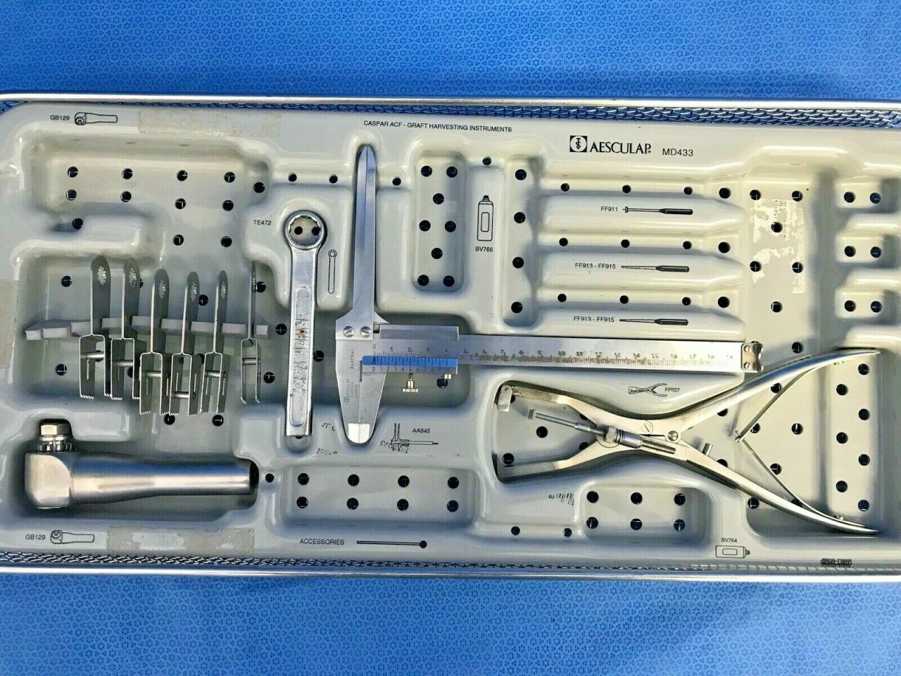 AESCULAP MD271 Cervical Caspar Retractor / Distractor / Saw Set Spine Neuro Neurology