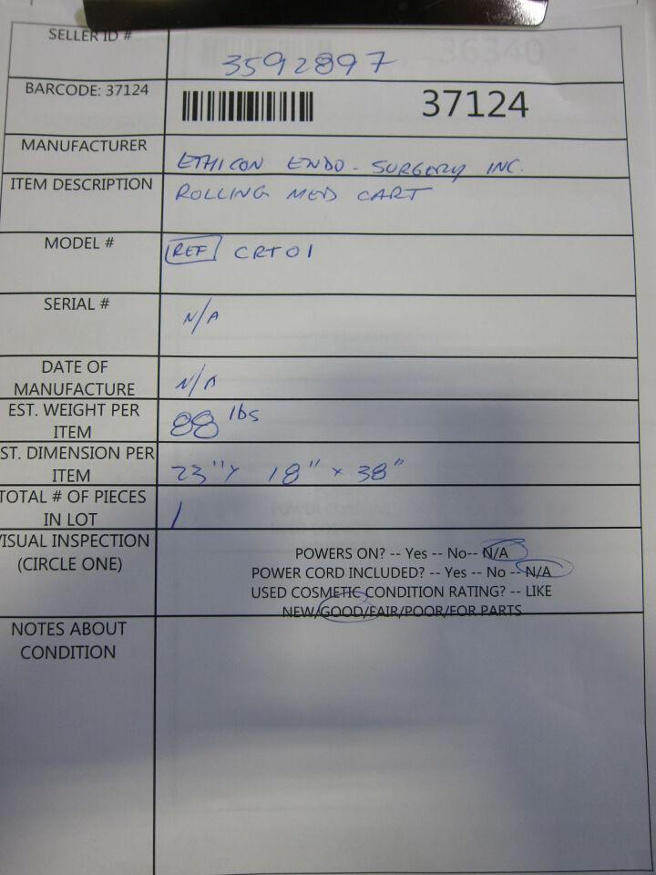 ETHICON CRT01 Pharmacy/Med Cart