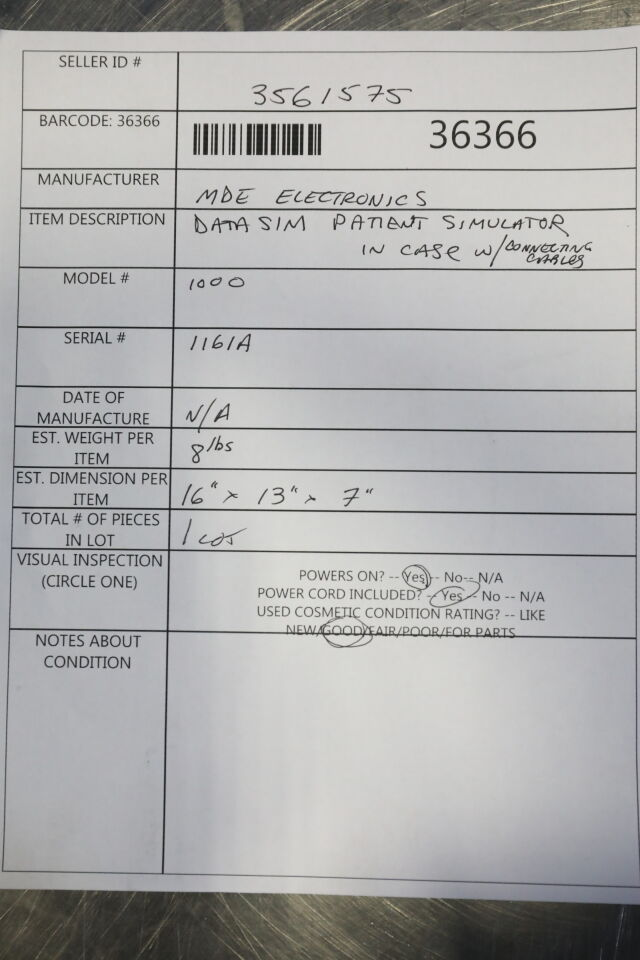 MDE ELECTRONICS Datasim 1000 Patient Simulator