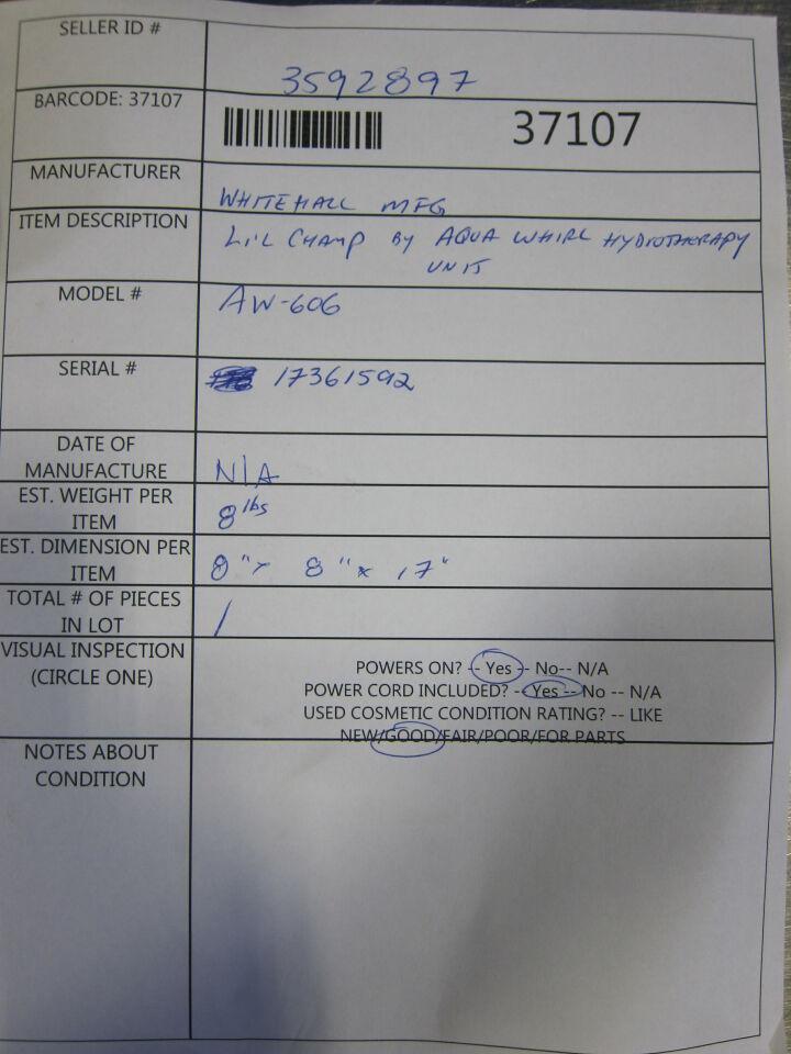 WHITEHALL MFG Lil-Champ W-606 Hydrotherapy Unit for Whirlpool / Bath