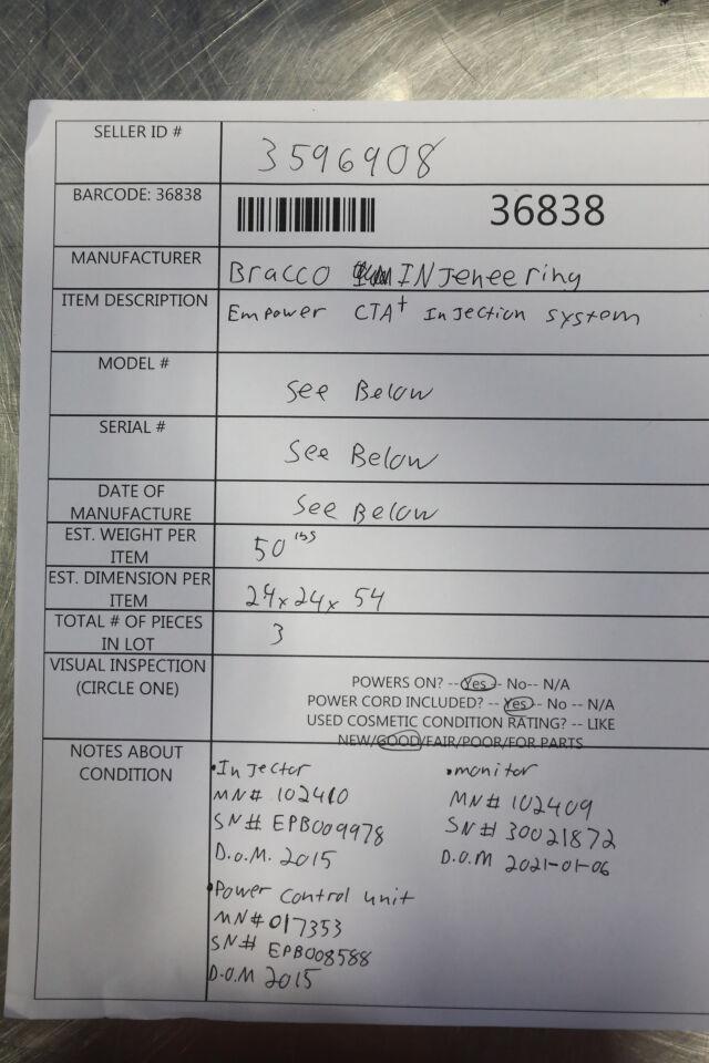 BRACCO INJENEERING Empower CTA + Injector CT