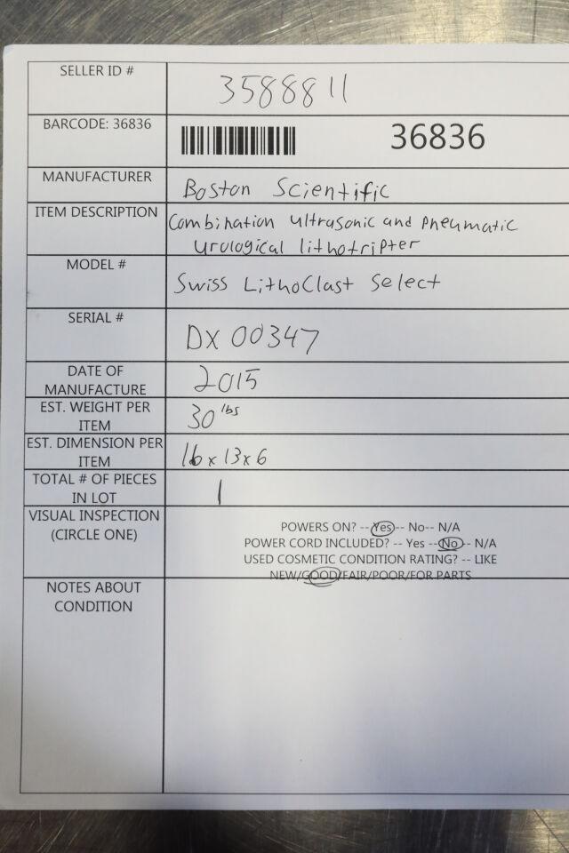 BOSTON SCIENTIFIC Swiss Lithoclast Select Lithotripter