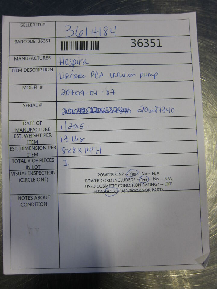 HOSPIRA Lifecare PCA  - Lot of 2 Pump IV Infusion