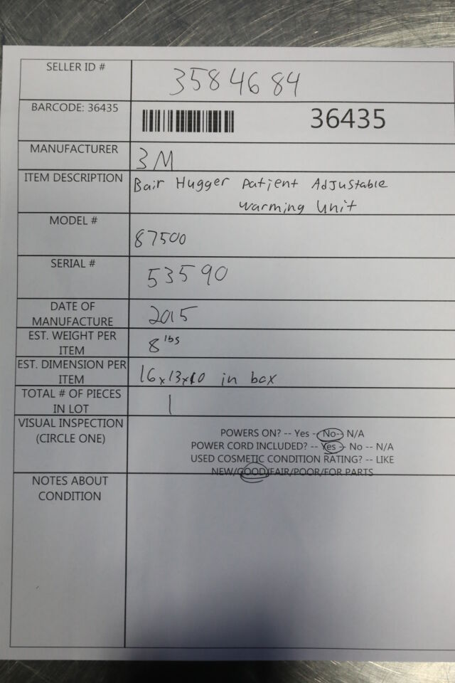 3M Bair Hugger  87500 Patient Warmer