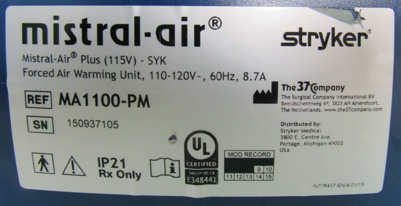 STRYKER Mistral Air MA2100-B-PM Patient Warmer