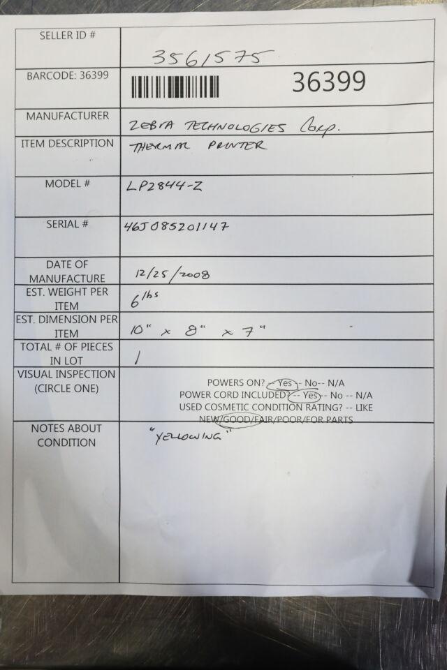ZEBRA TECHNOLOGIES LP2844-Z Printer