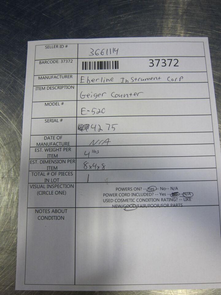 EBERLINE INSTRUMENTS CORP E-52C Radiation Meter