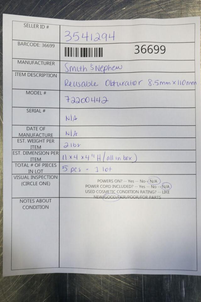 SMITH & NEPHEW 72200442 Reusable Obturator - Lot of 5
