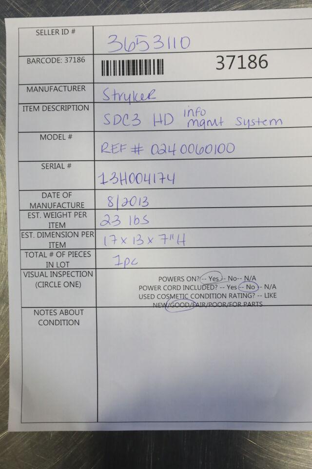 SMITH & NEPHEW SDC3 Info Management System
