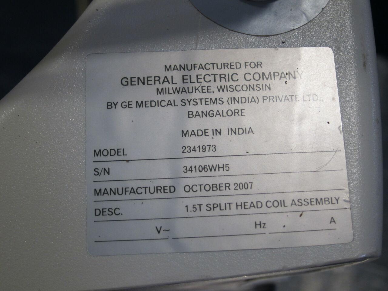 GE Signa 1.5 T Split Head MRI Coil