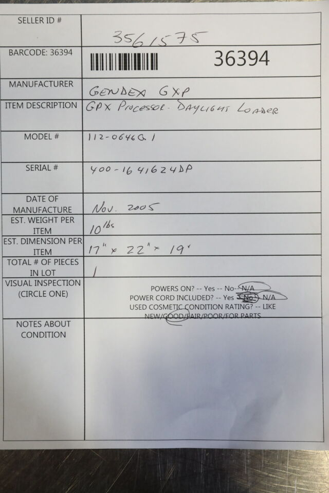 GENDEX 112-0646G1 GDX Processor Dental X-Ray