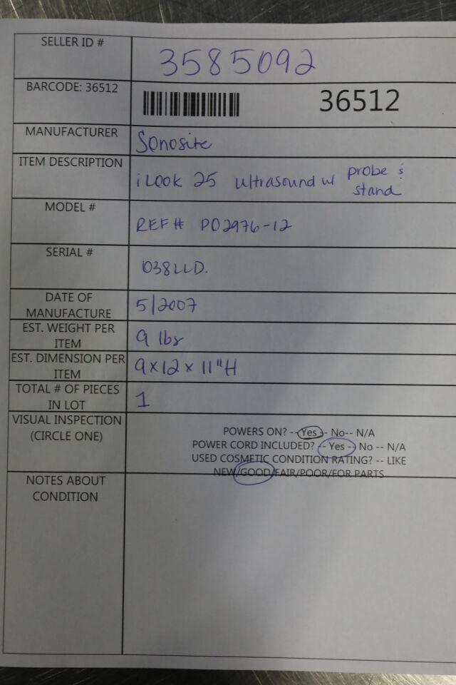 SONOSITE iLook25 Ultrasound Machine