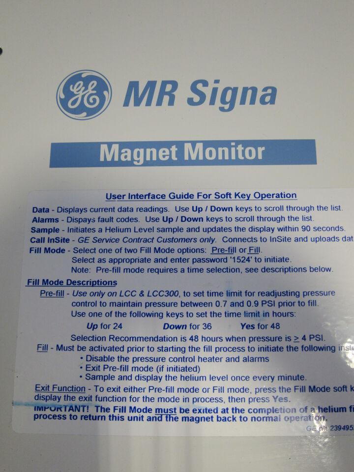 GE MR Signa Magnet Monitor