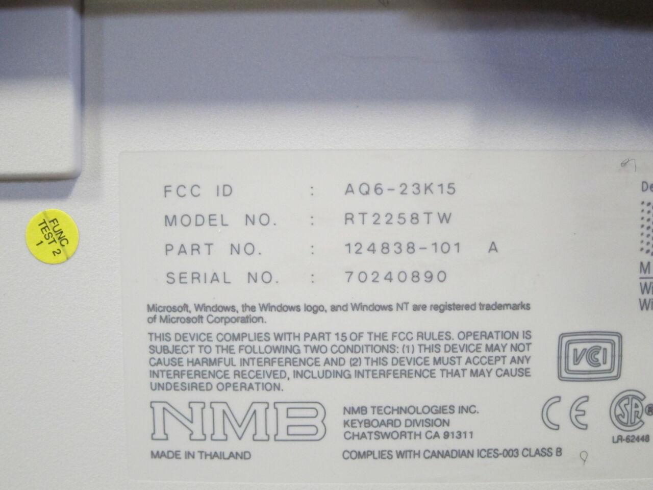 NMB TECHNOLOGIES / GE Various Keyboard w/ Scan Control Module