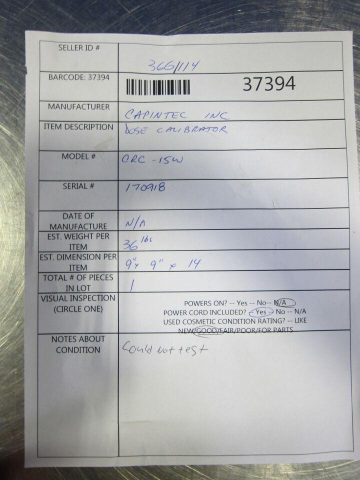 CAPINTEC CRC-15W Component Dose Calibrator
