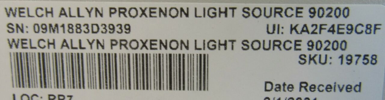 WELCH ALLYN ProXenon 90200 Light Source