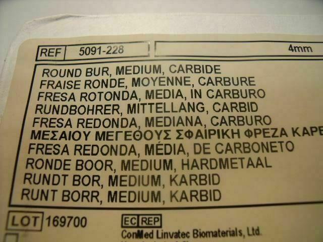 CONMED 5091-228  ROUND BUR, MEDIUM CARBIDE 4MM