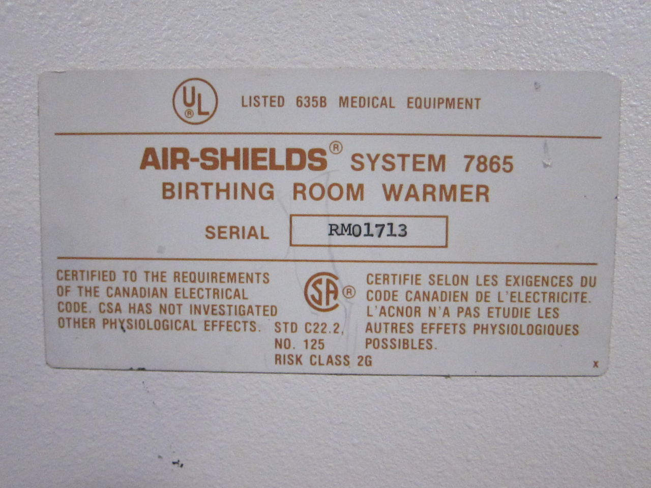 AIR-SHIELDS 7865 Infant Warmer