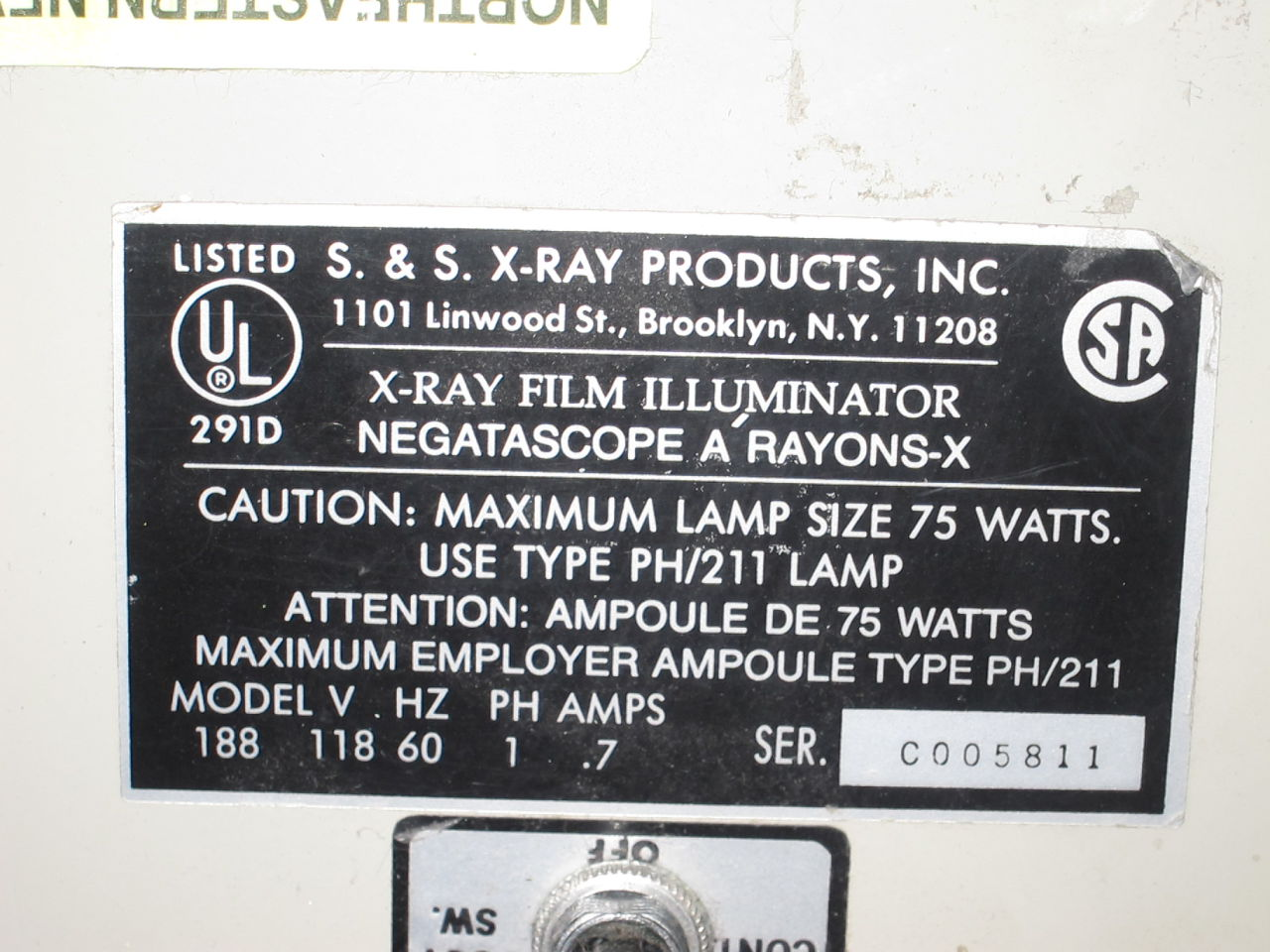 S&S X-RAY PRODUCTS 188 Film Illuminator