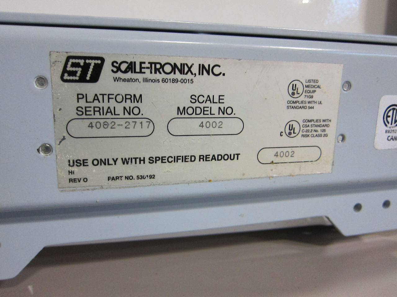 SCALETRONIX 4002 Scale