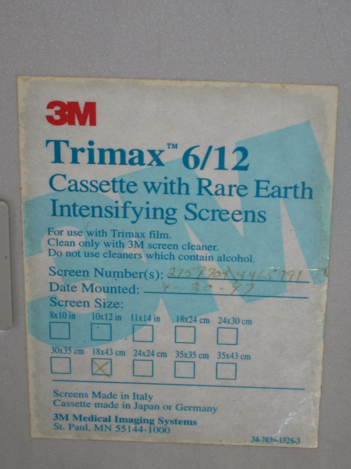 3M Trimax 6/12 w./ Rare Earth Intensifying Screens  - Lot of 3 Cassettes