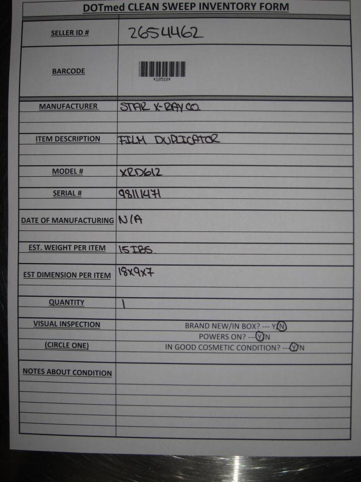 STAR X-RAY CO XRD612 Film Duplicator