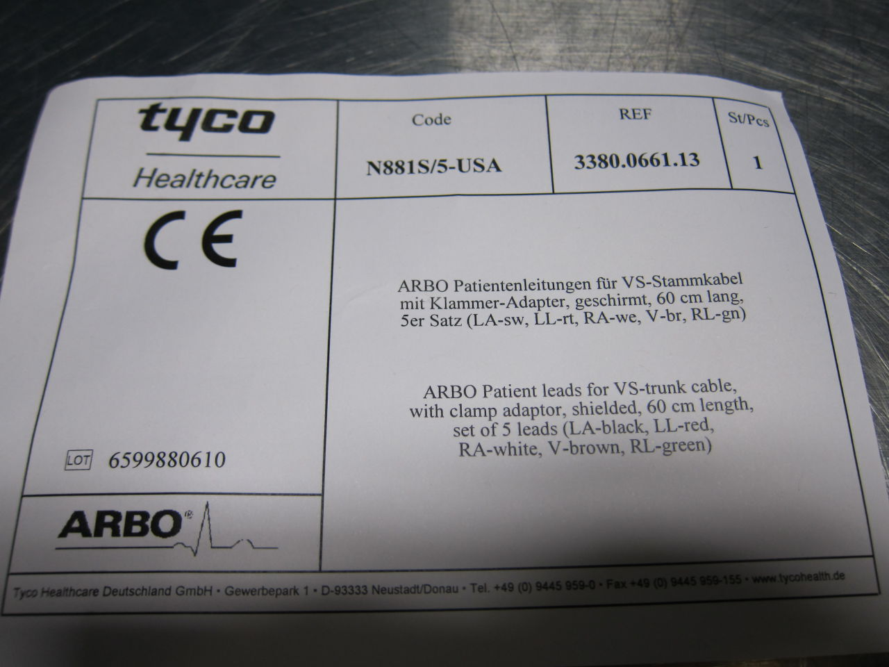 TYCO HEALTHCARE 5 Lead Defib/EKG Electrode Cable Defibrillator