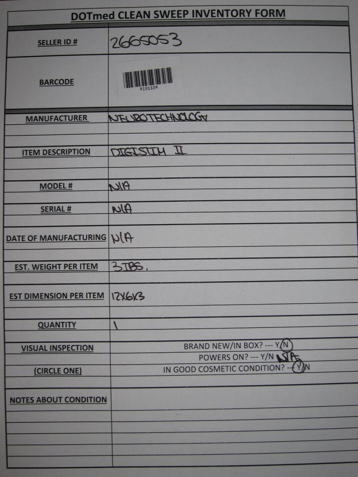 NEUROTECHNOLOGY Digistim II Nerve Stimulator