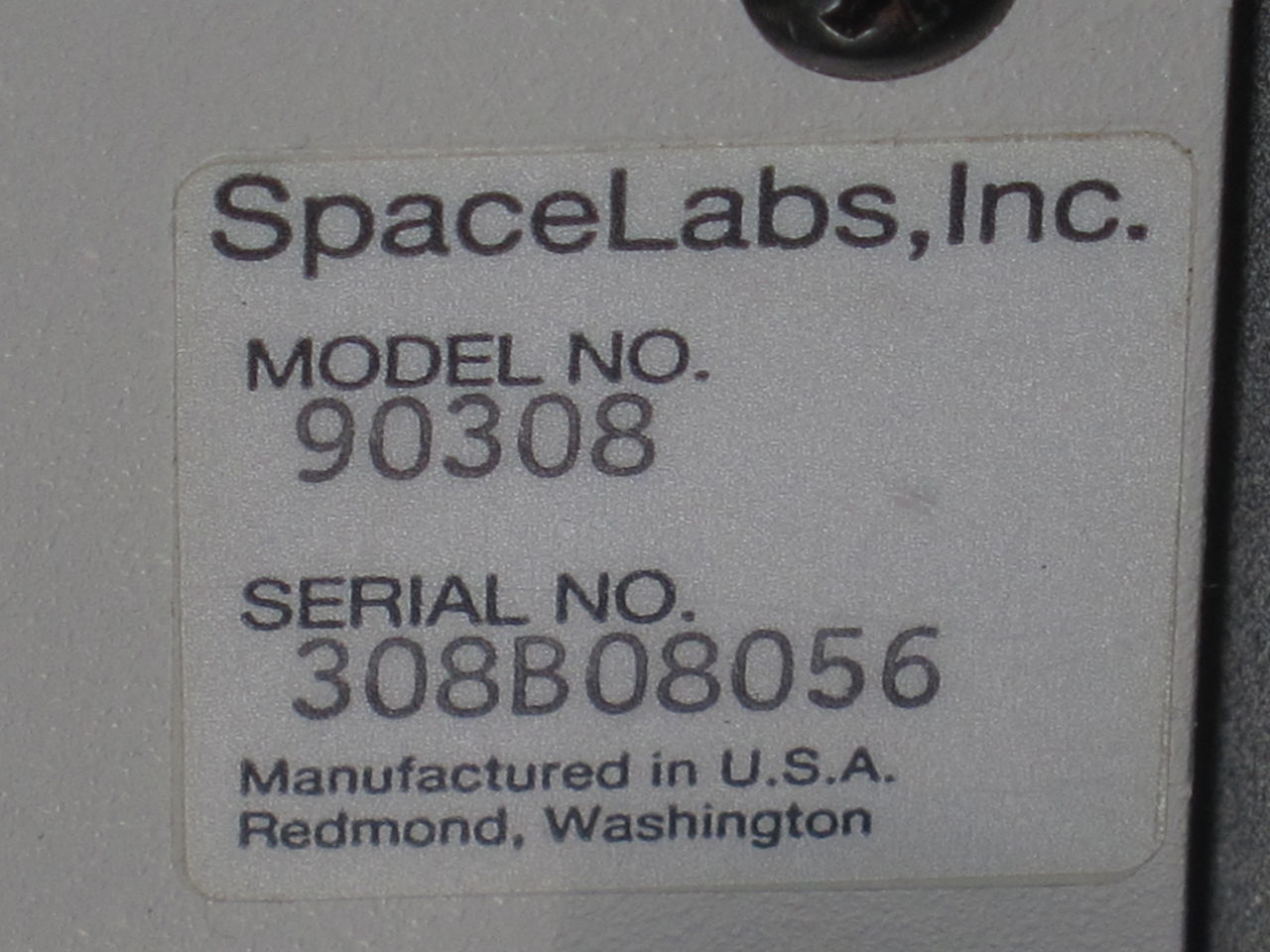 SPACELABS INC. 90308 Monitor