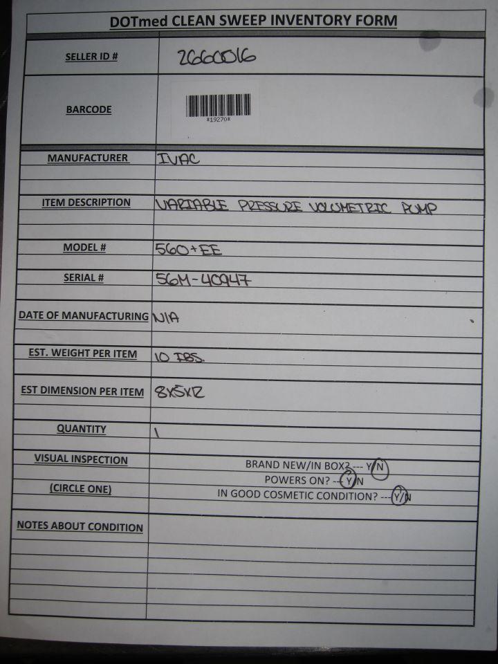IVAC 560+EE Pump IV Infusion