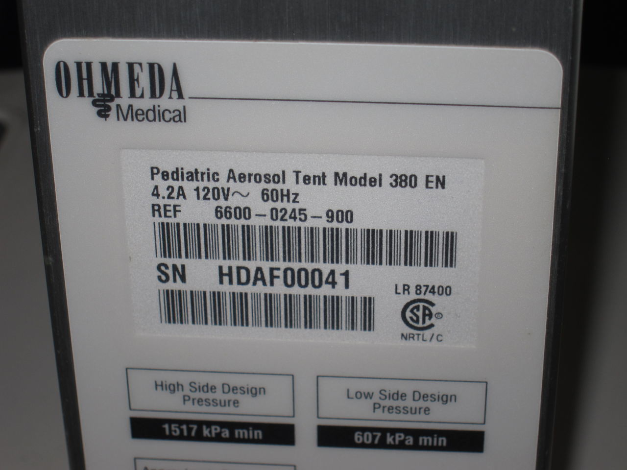 OHMEDA 370/380 Lot of 5 Oxygen Tent