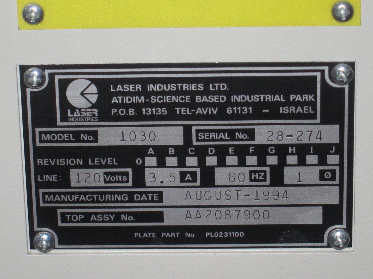 LASER INDUSTRIES Sharplan 1030 Surgical Laser