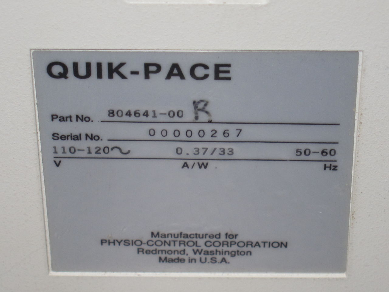 PHYSIO-CONTROL CORPORATION Quik-Pace Pacemaker