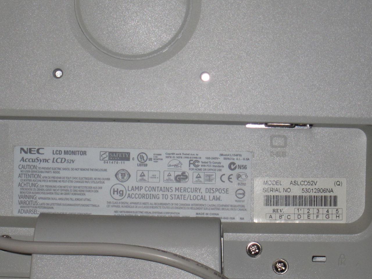 NEC AccuSync LCD 52v Display Monitor