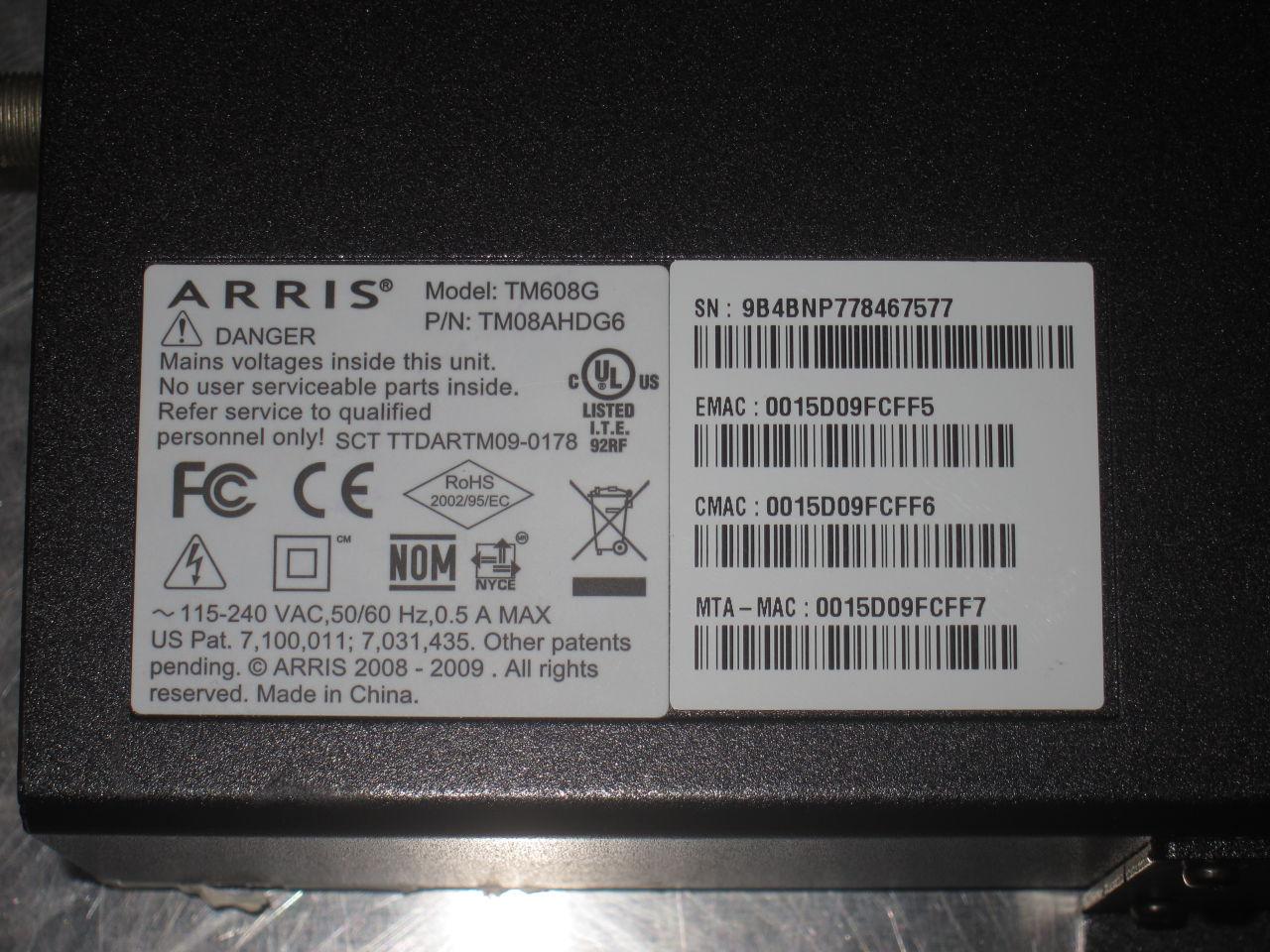ARRIS TM608G Telephony Modem Telemetry