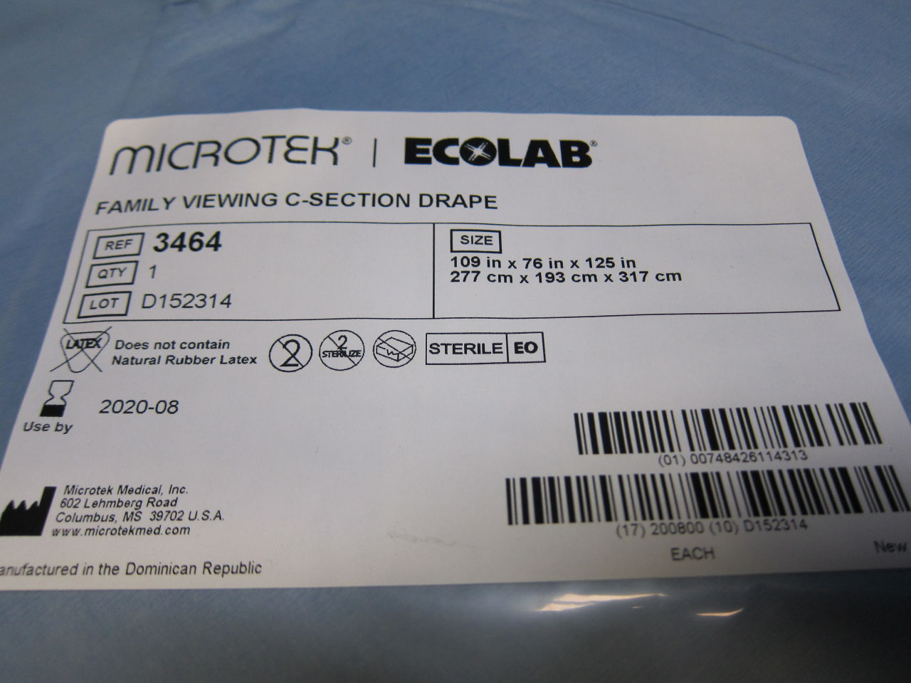 ECOLAB 3464  Family Viewing C-Section Drape