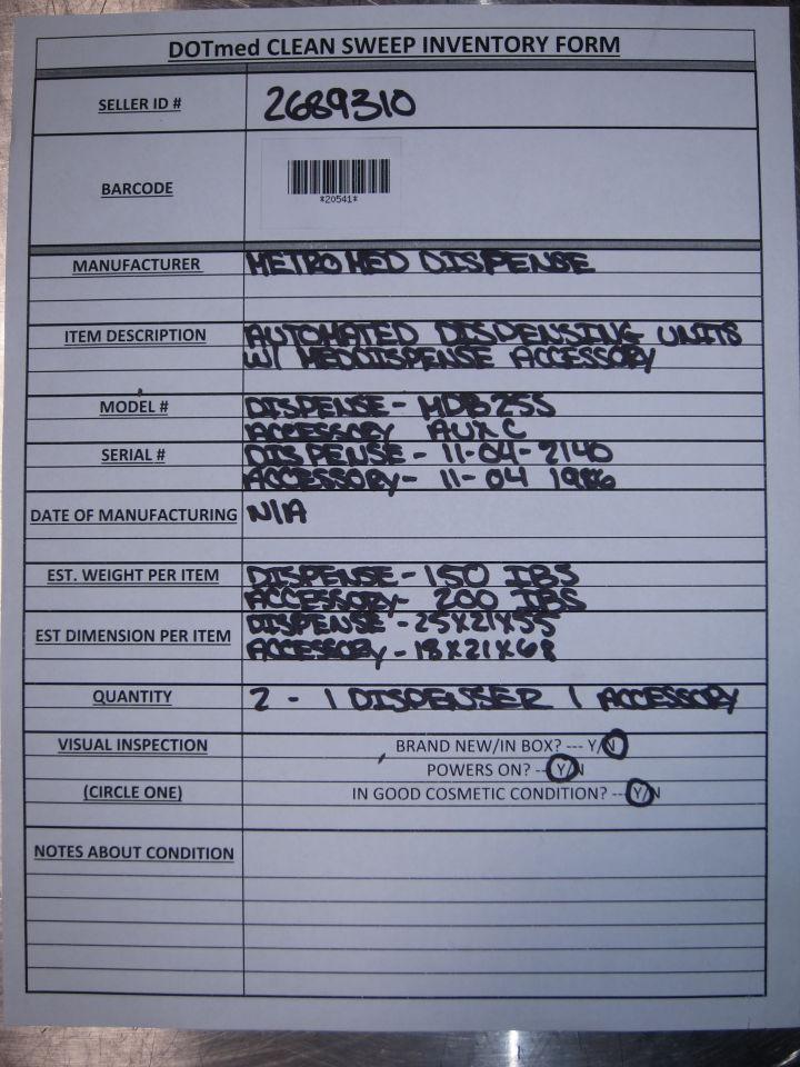 METROMED DISPENSE Various w/ Accessory - Lot of 2 Pill Dispensers
