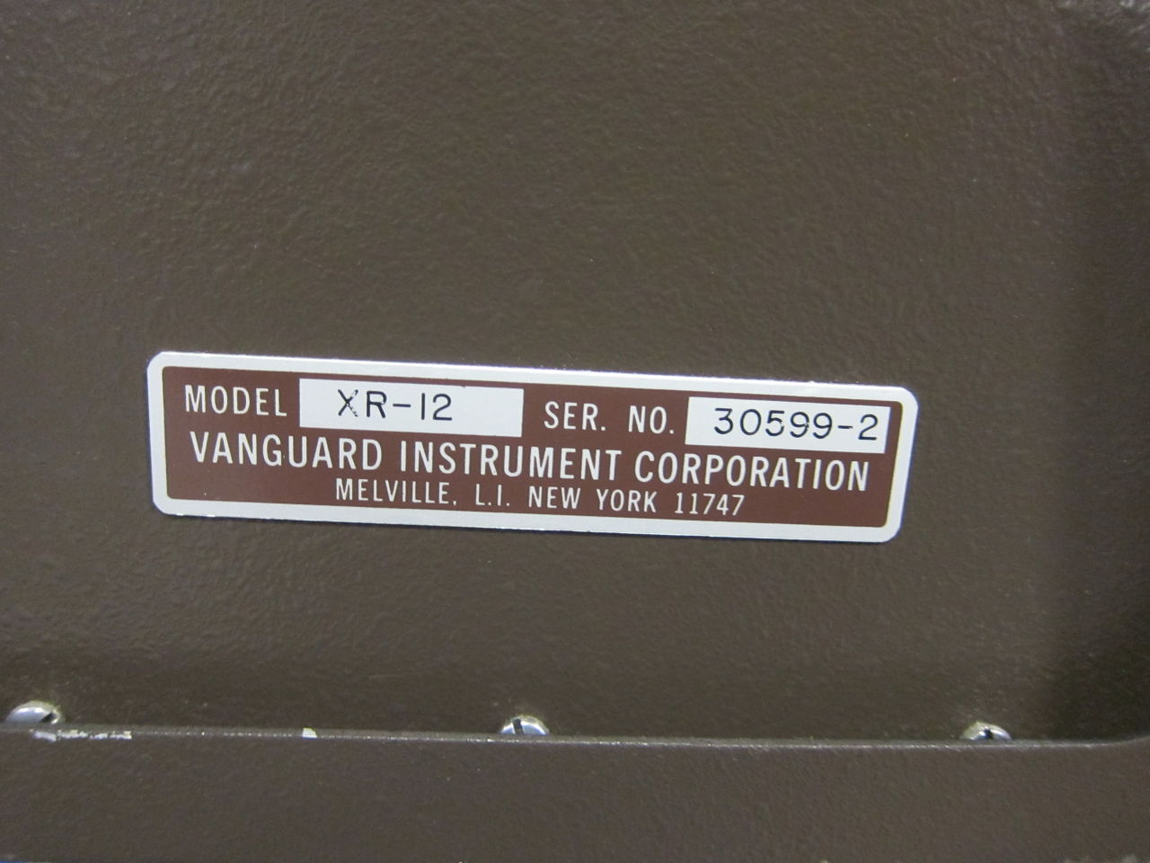 VANGUARD INSTRUMENT CORP. XR-35-4 Film Processor