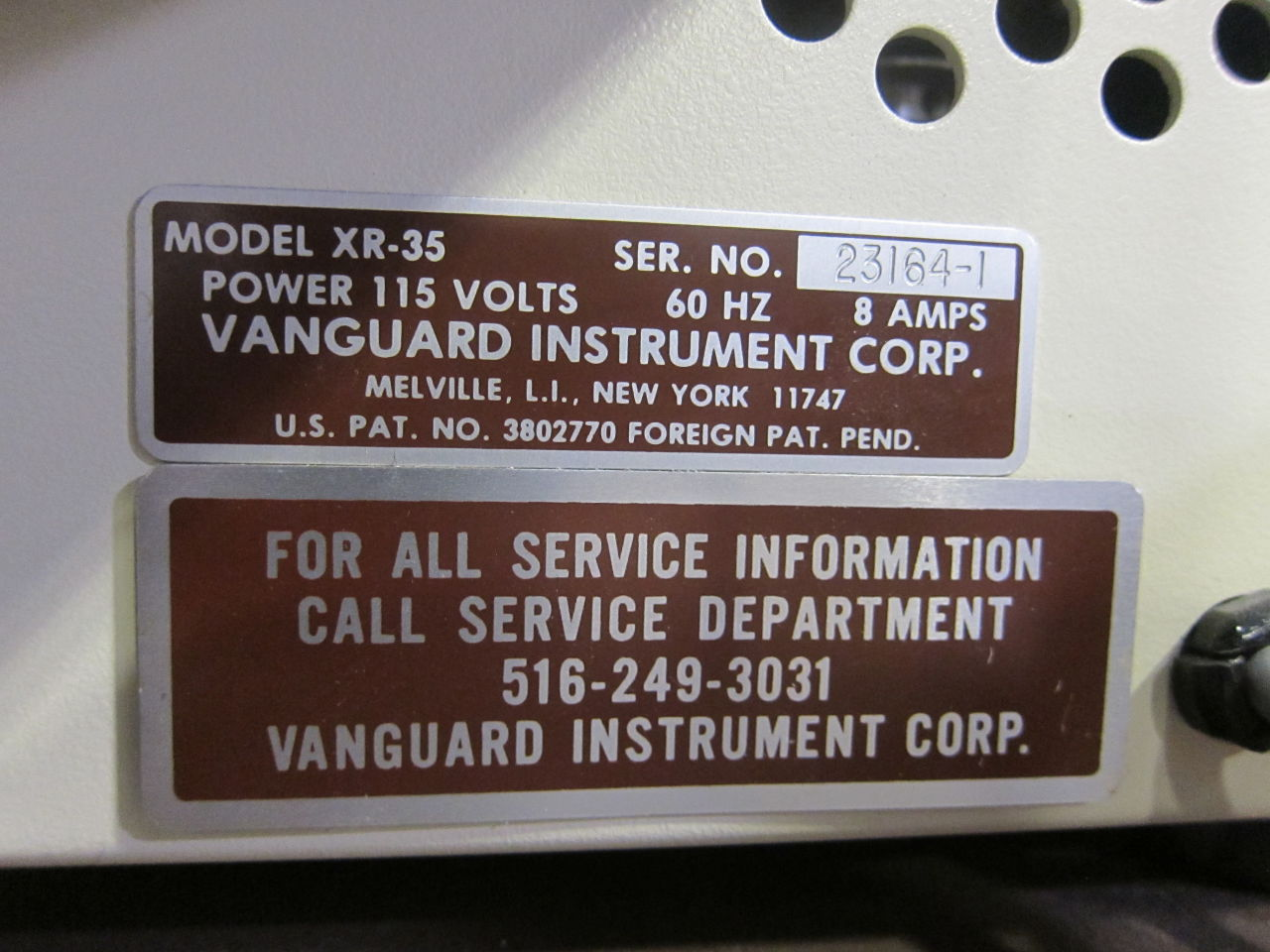 VANGUARD INSTRUMENTS CORP XR-35 Film Processor
