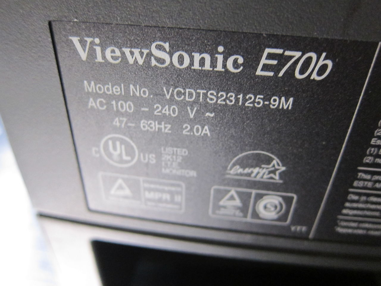 VIEWSONIC E706 Display Monitor
