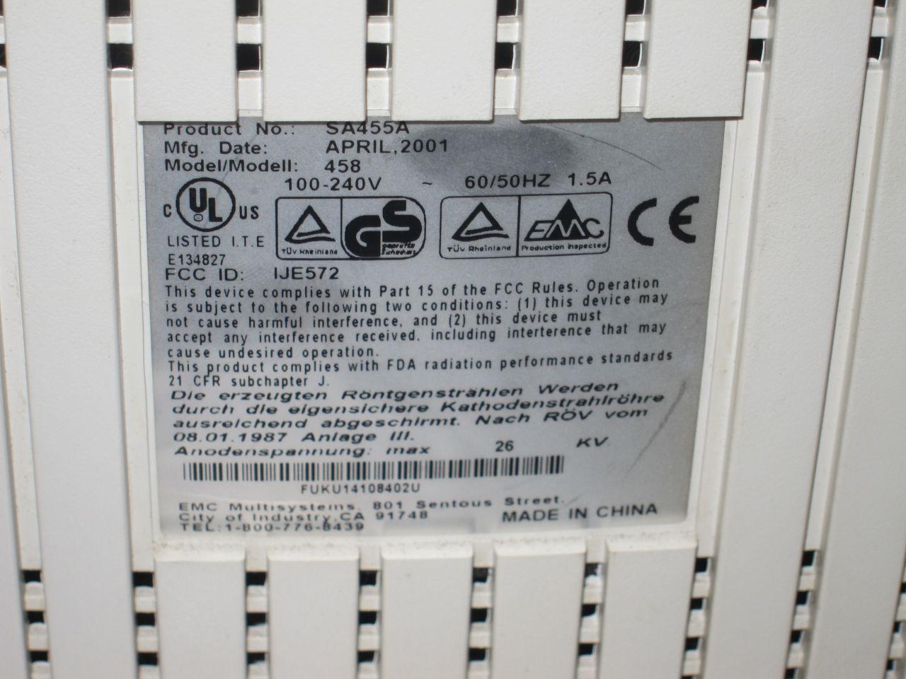 EMC MULTISYSTEMS 458 Display Monitor