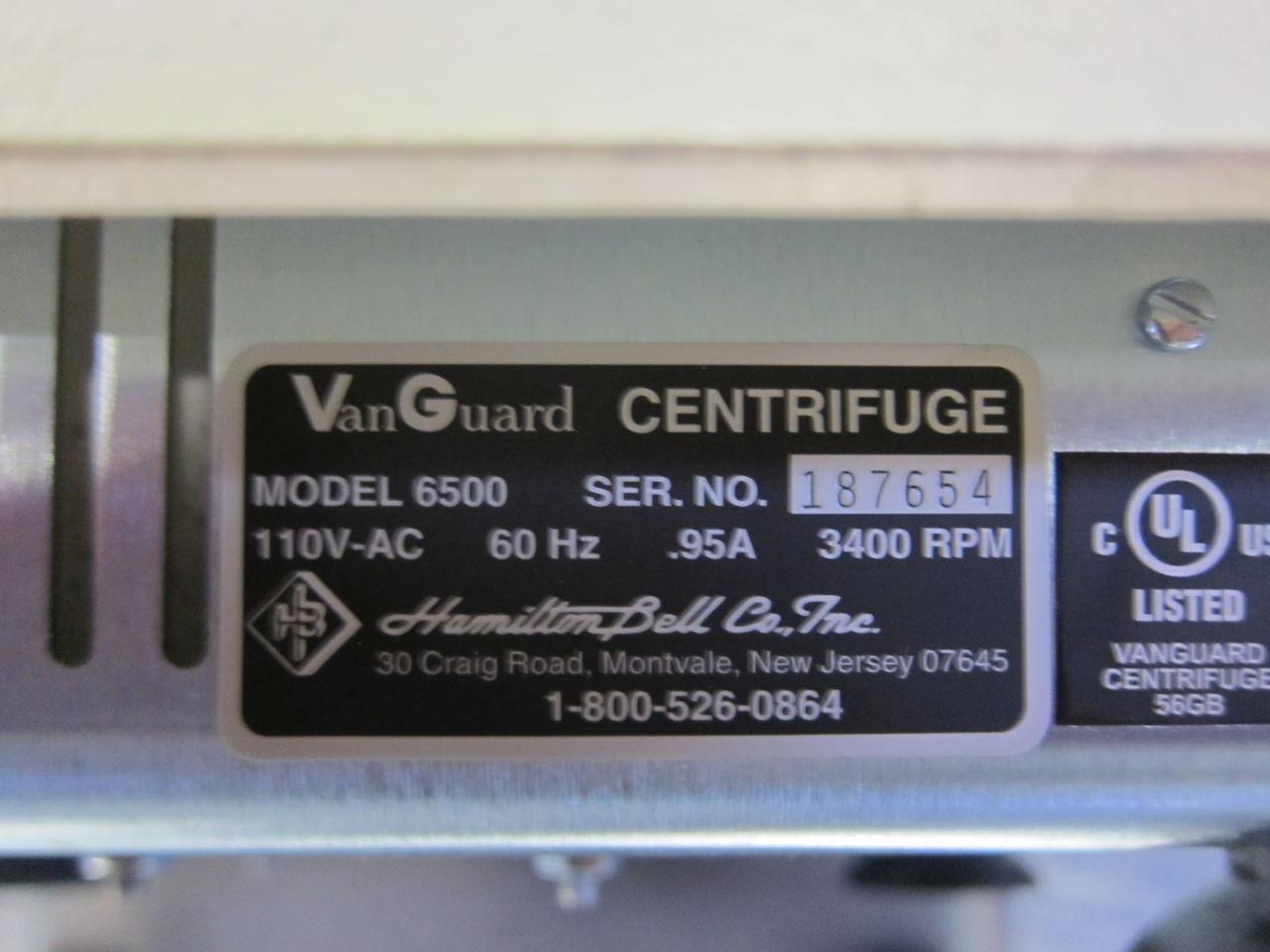HAMILTON BELL/MARKETLAB Vanguard V6500 Centrifuge