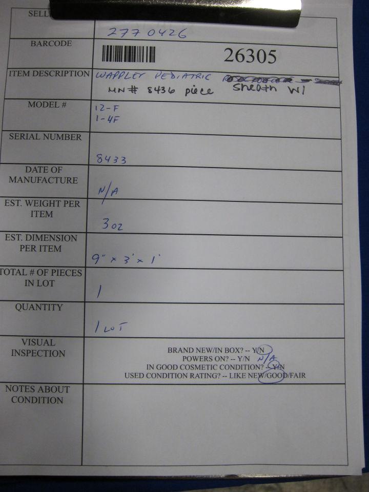 WAPPLER 12-F, 1-4F 8433 Cystoscope