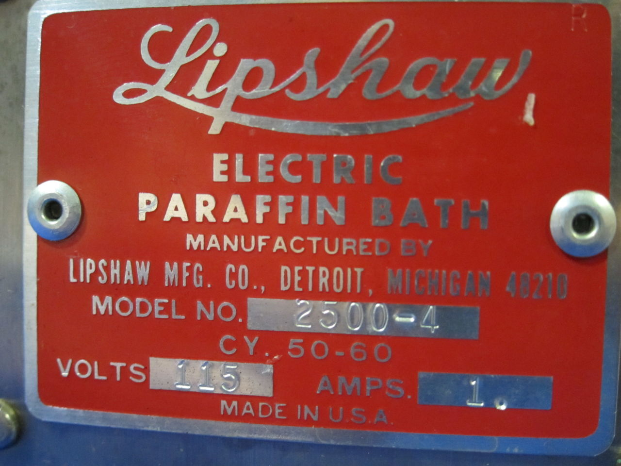 LIPSHAW 2500-4  - Lot of 2 Paraffin Bath