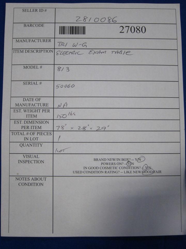 TRI W-G 813 Exam Table