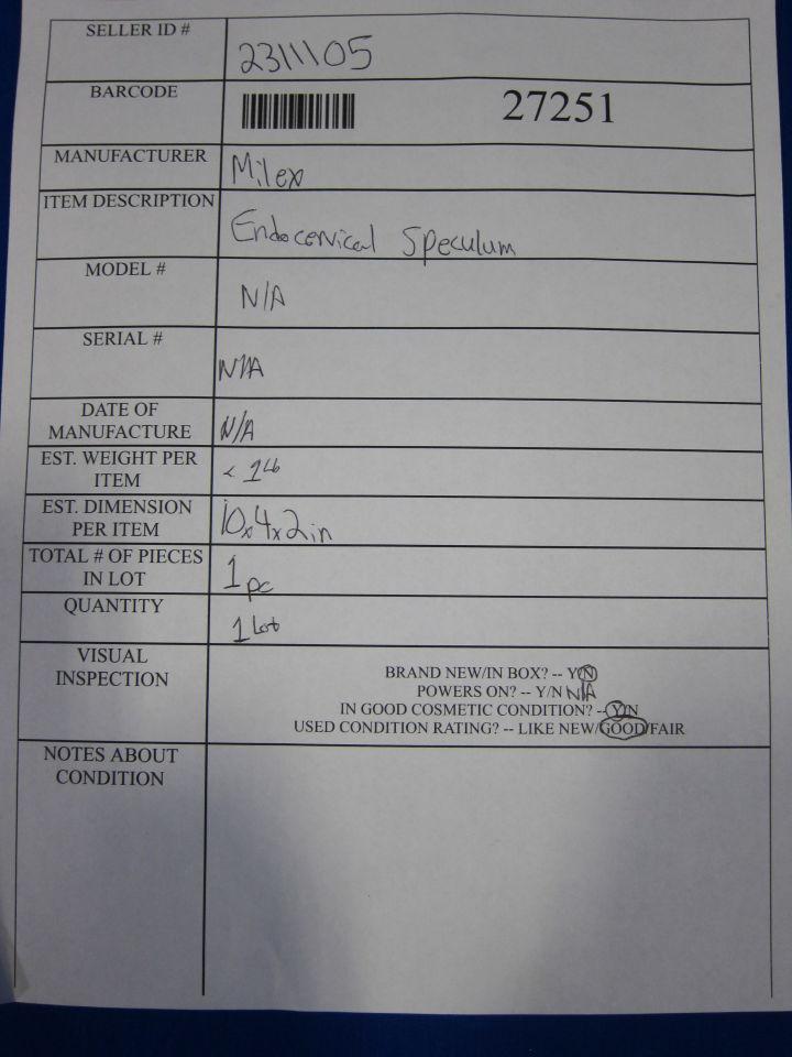 MILTEX  Endocervical Speculum