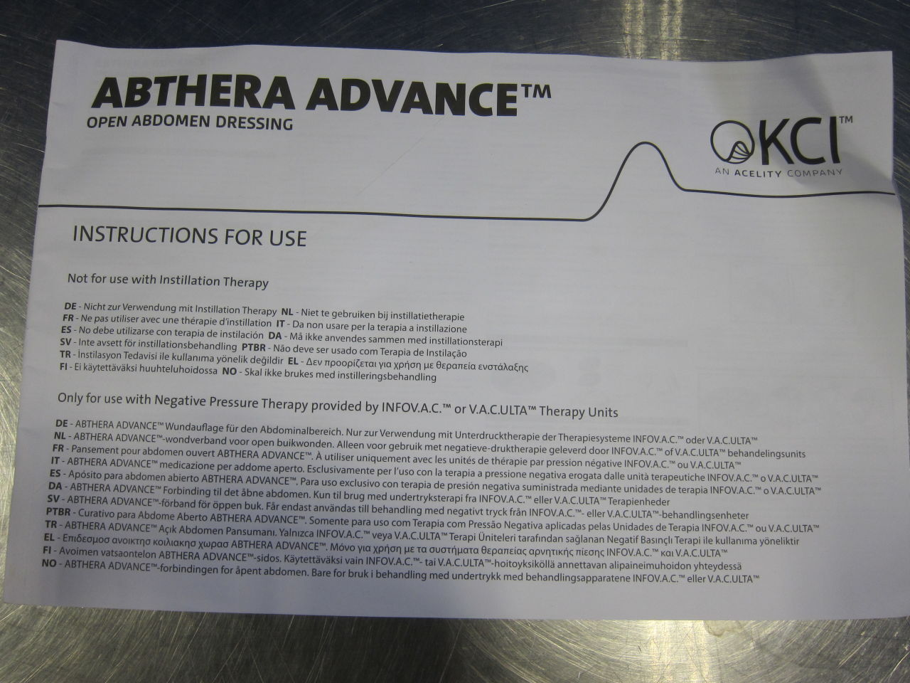 KCI USA Abthera Advance Open Abdomen Dressing - Lot of 5