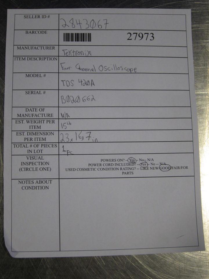 TEKTRONIX TDS420A Oscilloscope