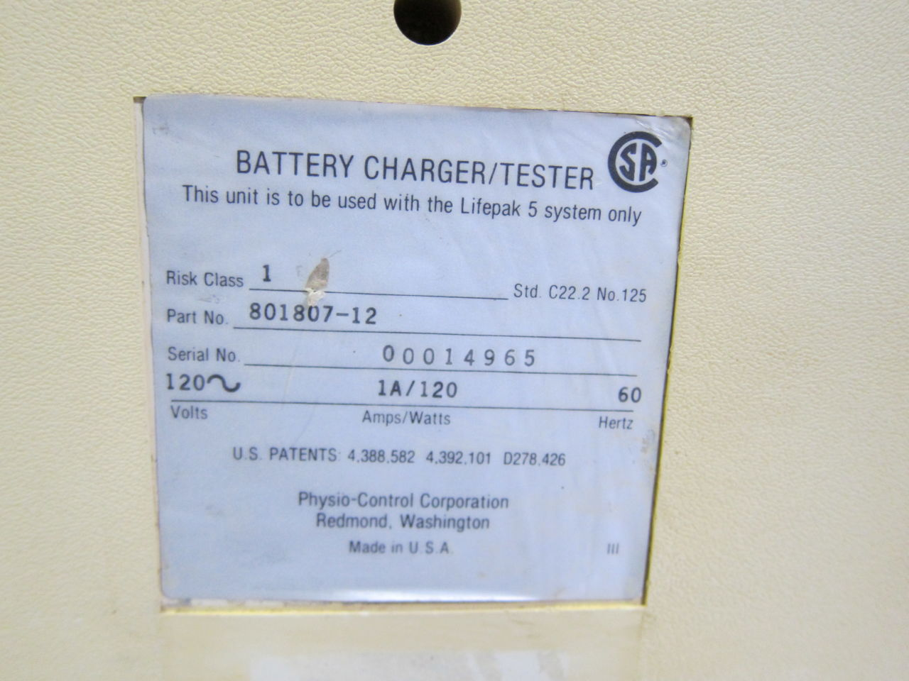 PHYSIO-CONTROL 801807-12 Battery Charger