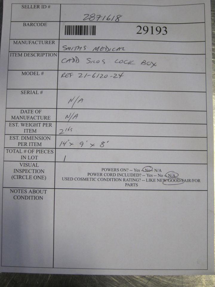 SMITHS MEDICAL Cadd Solis Lockbox Pump IV Infusion